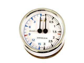 Pressure Gauge / manometer   Dual Pressure Gauge chrome/white  Elektra